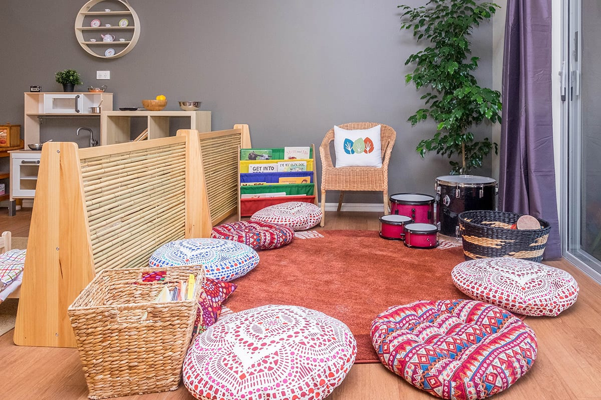 Wanjoo welcome circle with pillows and musical instruments at Keiki early learning hamersley
