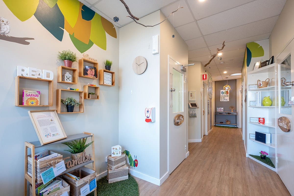 Entry and hallway of centre with community library at Keiki early learning mindarie keys