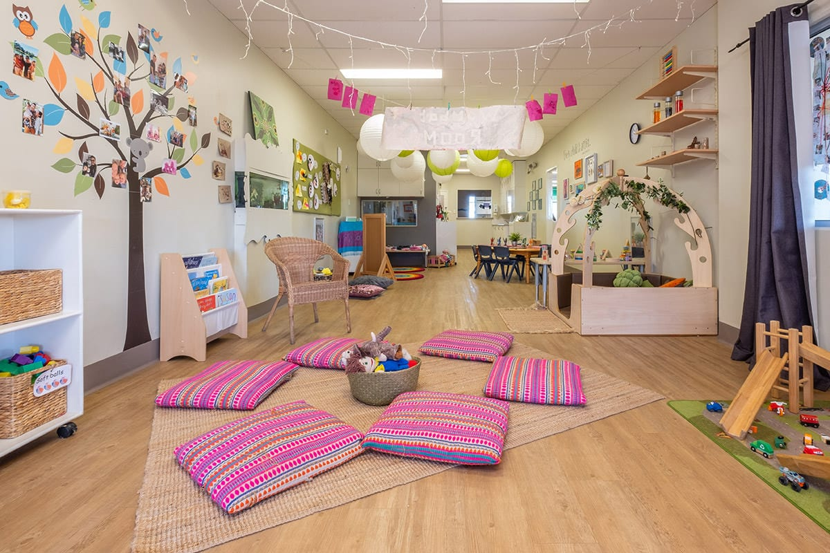 Toddler room wanjoo welcome circle with pillows to sit on at keiki early learning mindarie keys
