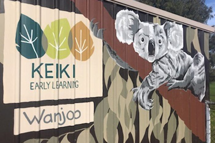 Keiki Early Learning logo, koala and Wanjoo wording painted on side of building