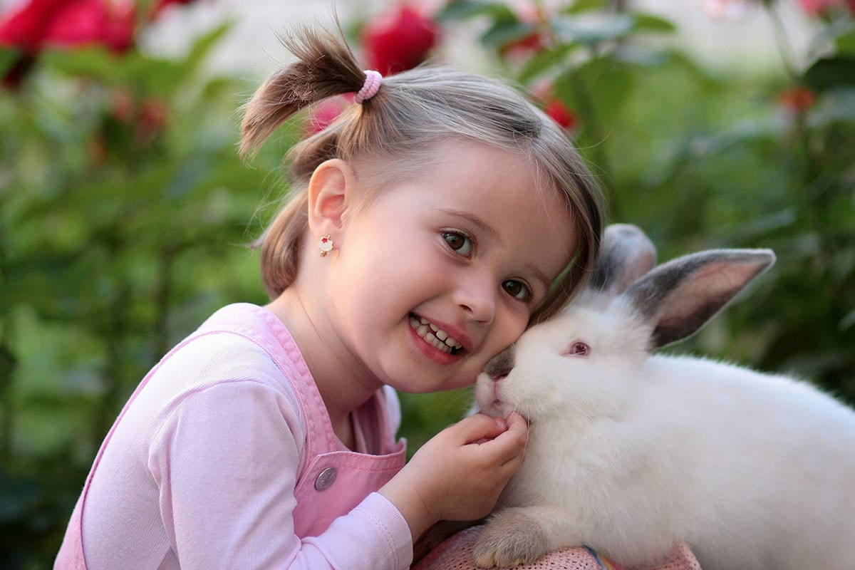young girl with rabbit outdoors