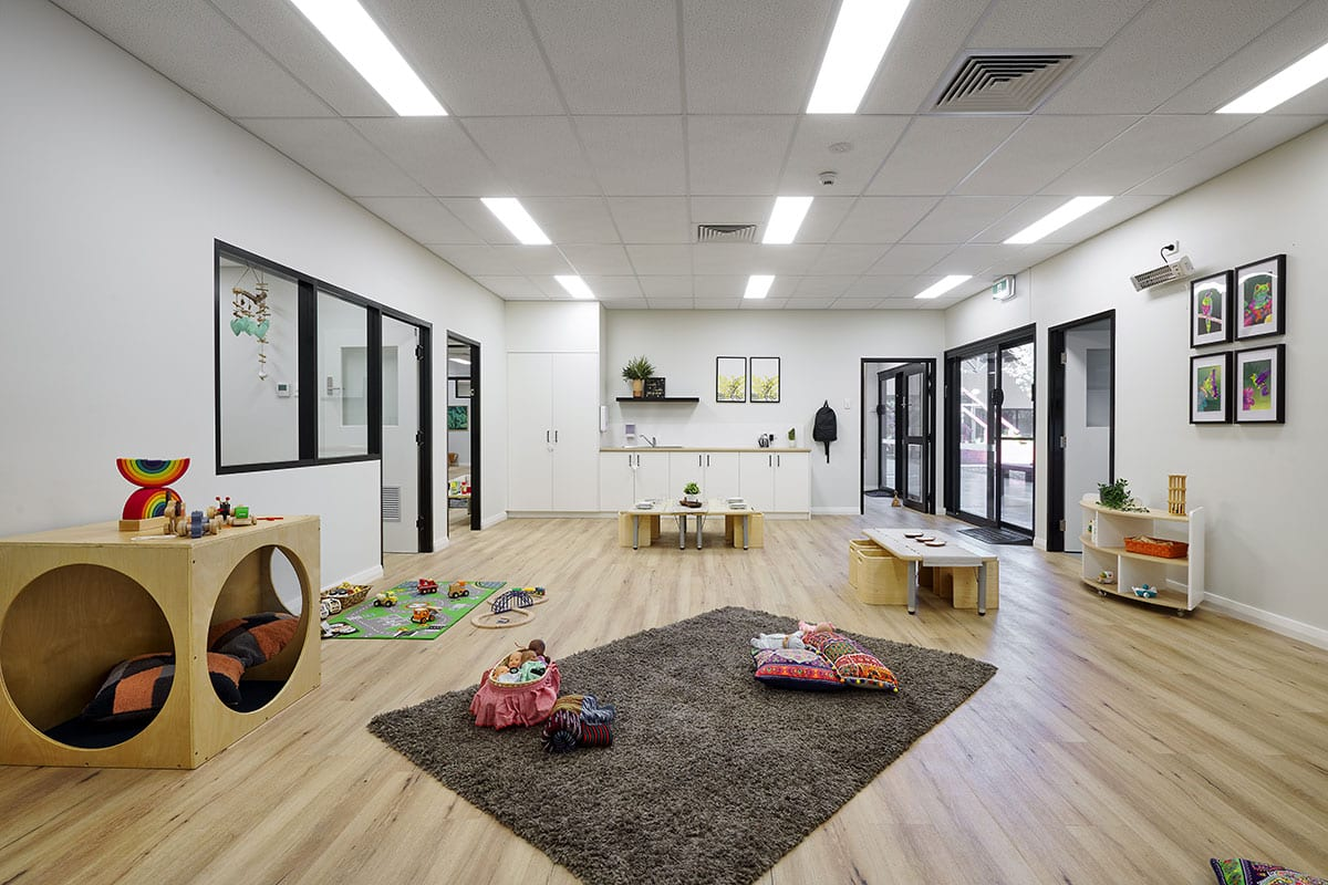 Interior of keiki edgewater baby room with toys kept on floor