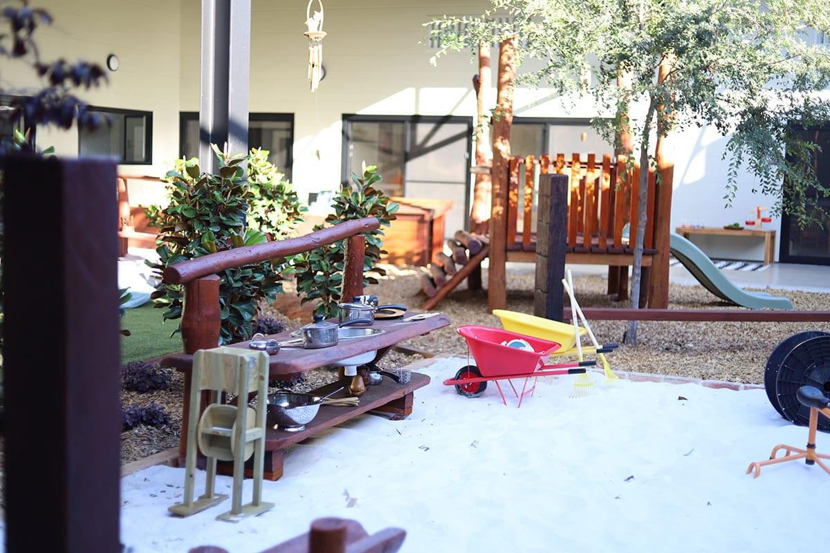 Play area with kids kitchen set kept at keiki edgewater centre