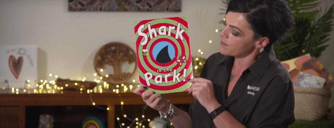 """Mandy from Keiki Early Learning Trinity, alkimos reading """"There's a share in the park"""" short story"""