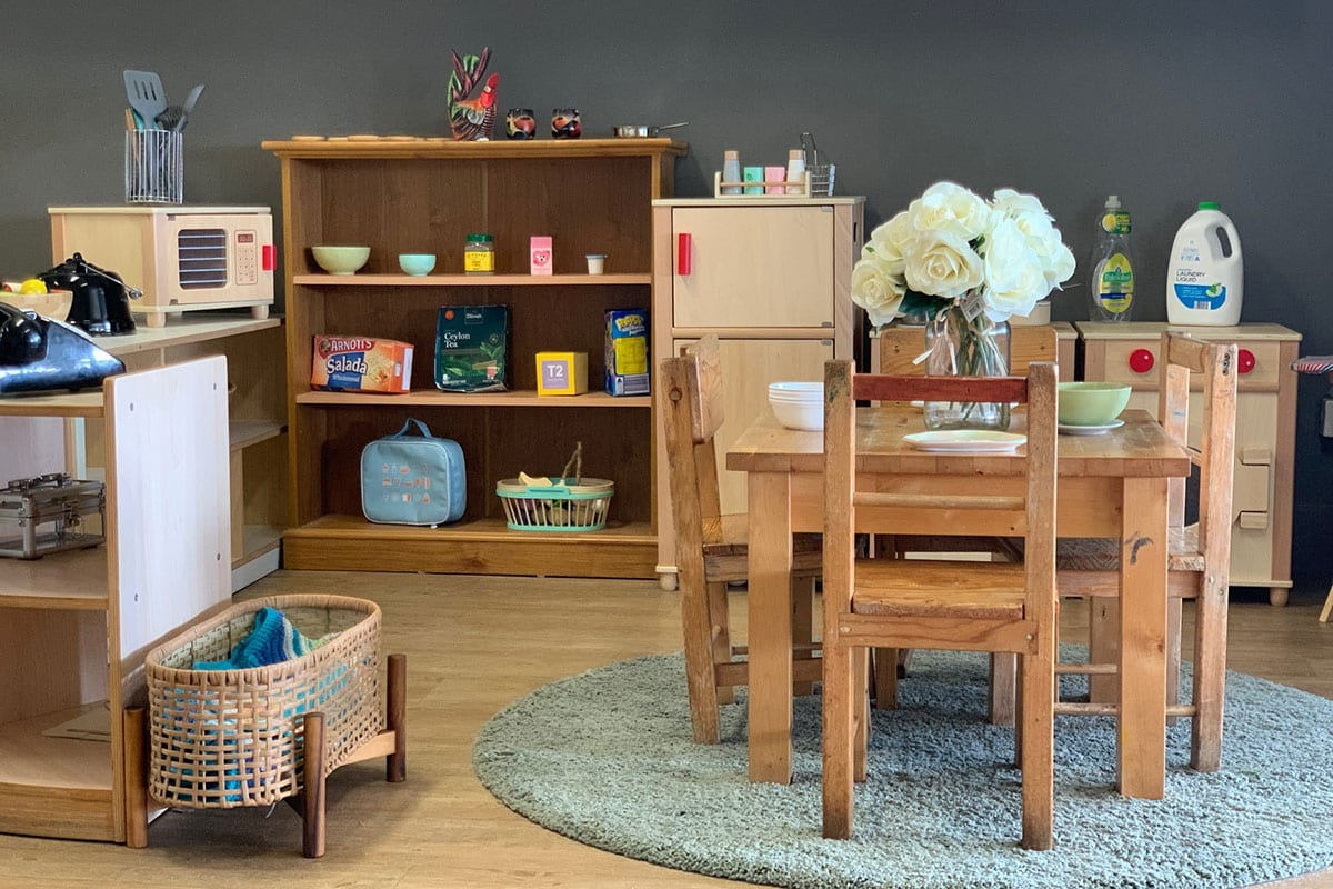 Kindy home corner with small play wooden furniture setup