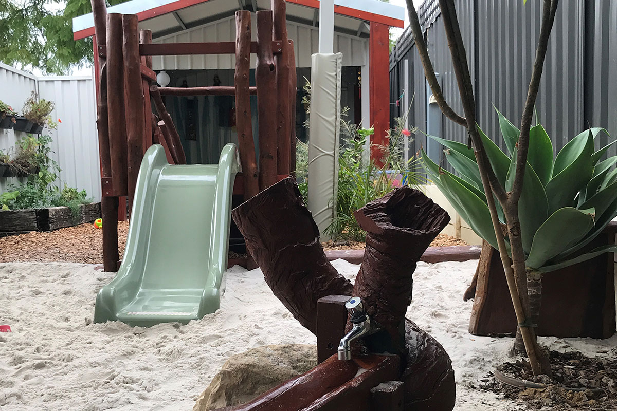 Toddlers play equipment outdoors
