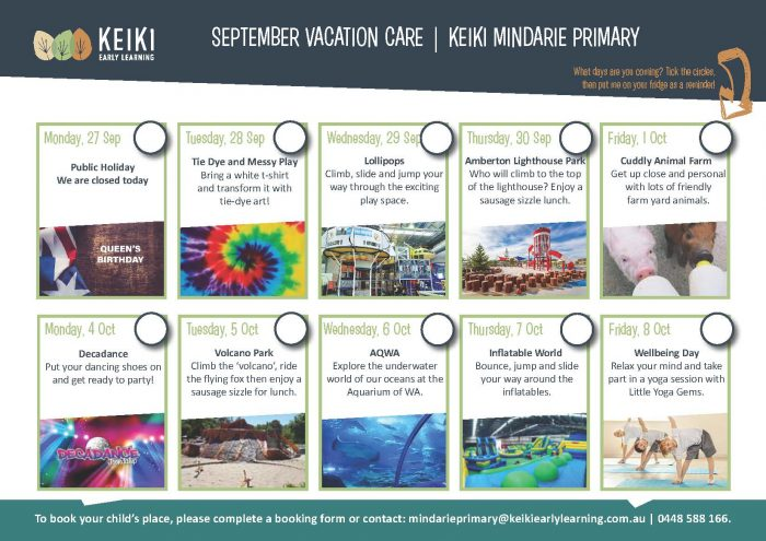 Mindarie Primary Vacation Care September 2021 Poster